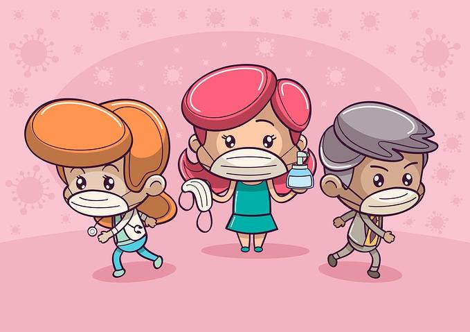 3 children wearing facemasks