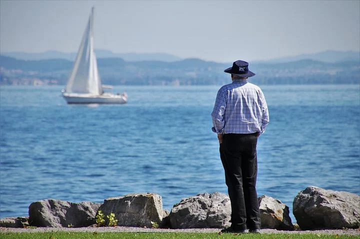 An old man at the beach