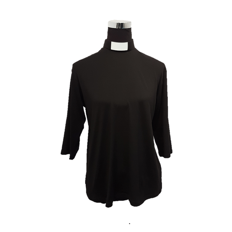 Ladies Clerical Stretch Shirt Black