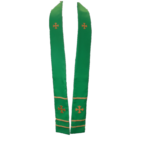 2 Point Stole Green A7 Cross