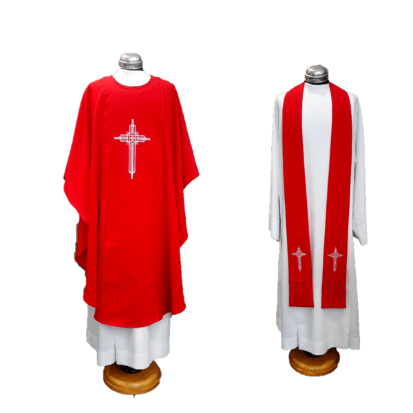 Chasuble & Stole George Cross on Red