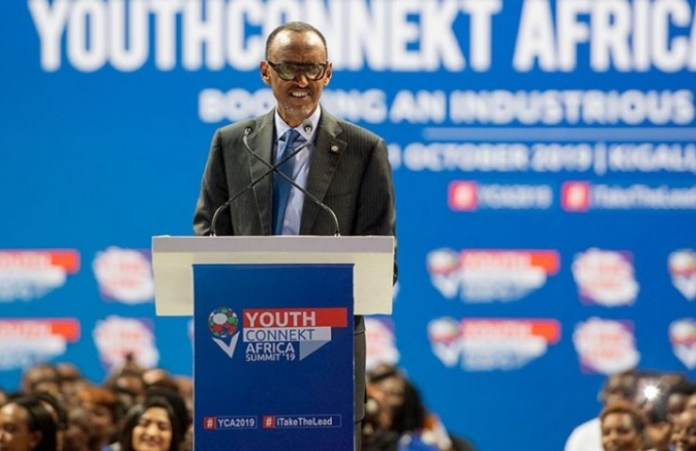 Paul Kagame giving a speech at 3rd YouthConnekt Africa Summit
