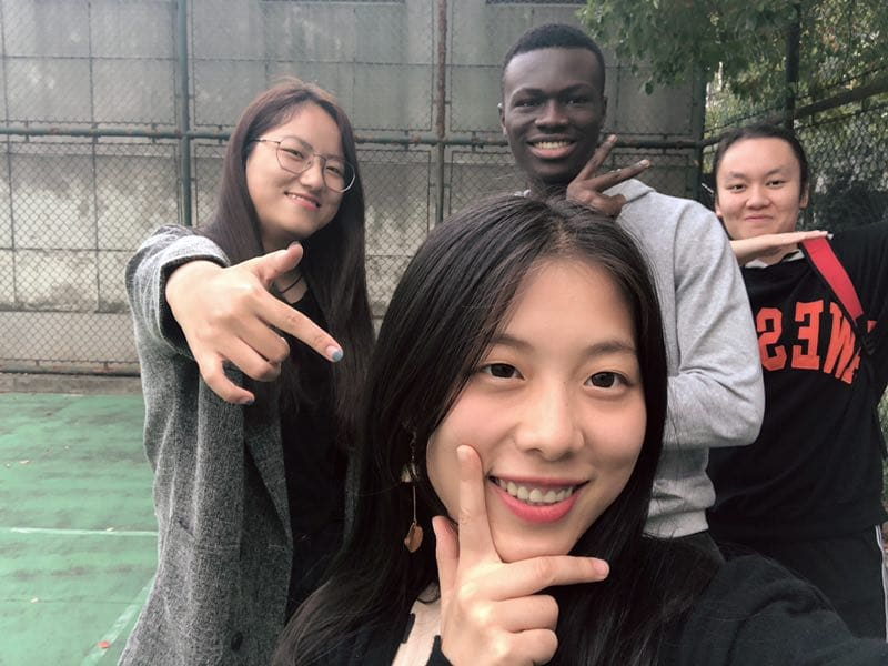 Emmanuel Kwasi Anhwere in China with classmates