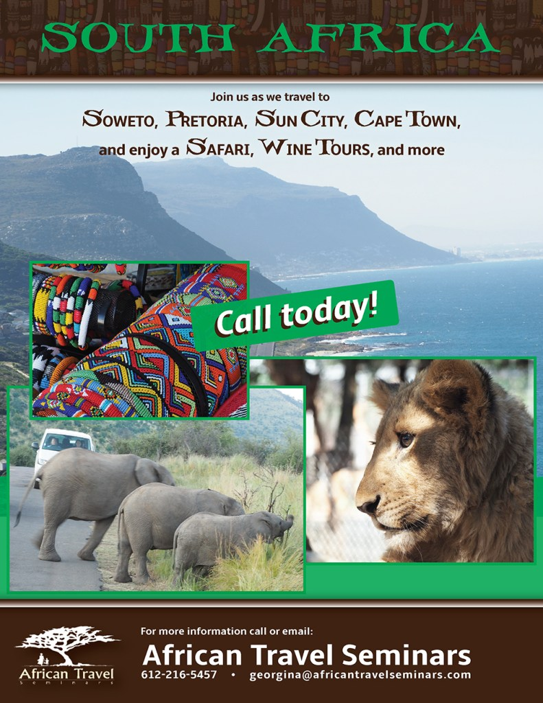 South Africa, Soweto, Pretoria, Sun City, Cape Town, Safari, Travel, Flyers, Brochures
