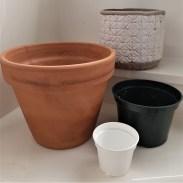 Clay, plastic and decorative pots