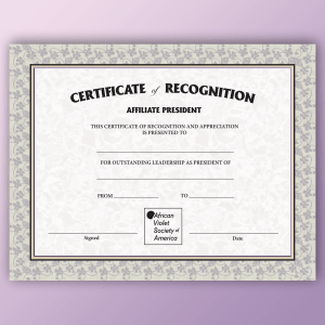Certificate of Recognition for Affiliate President