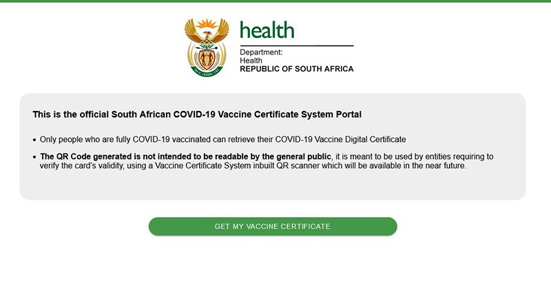 South Africans Can Now Get Their Digital Vaccine Passes via This Website