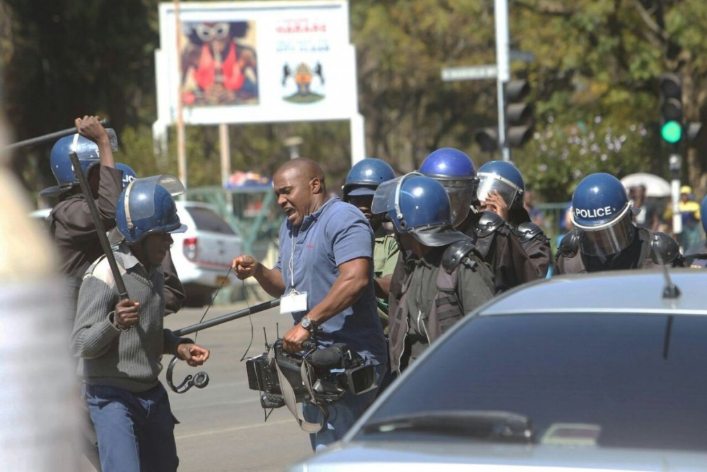 Some journalists were also victims of police brutality Courtesy: Tsvangirai Mukwazhi