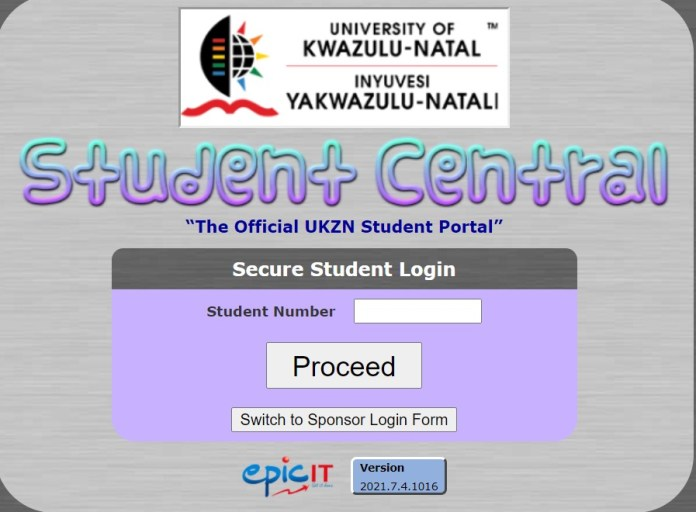 UKZN student central login page.