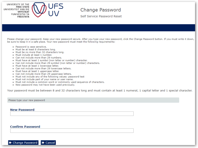 ufs enter new password