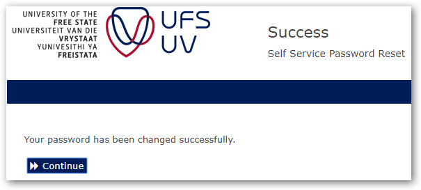 ufs password changed