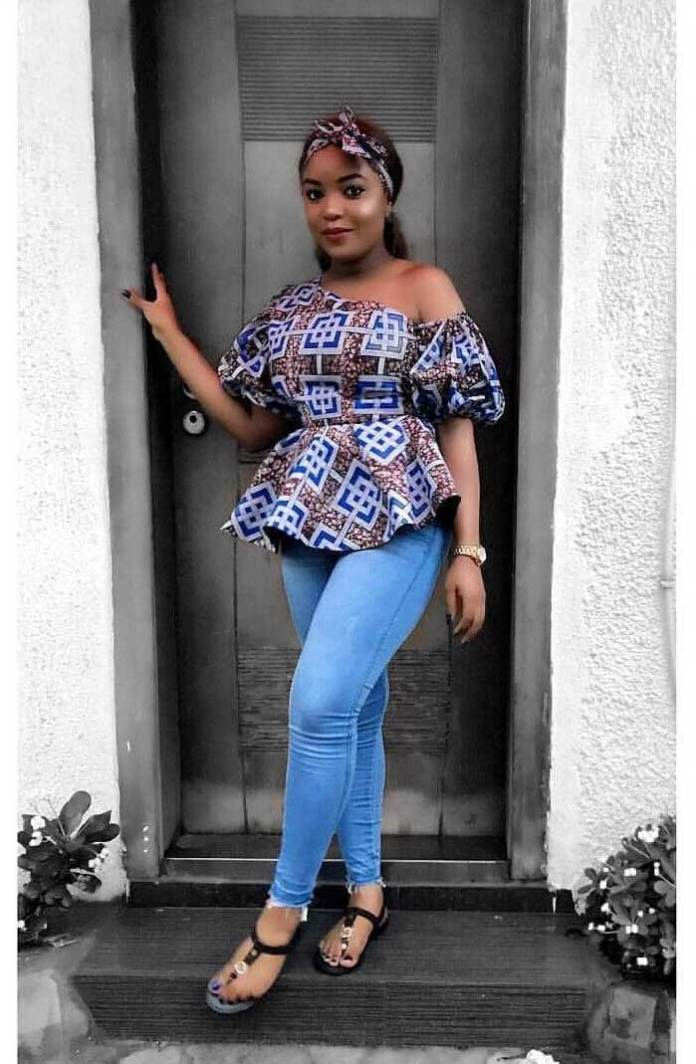 African print top with jeans