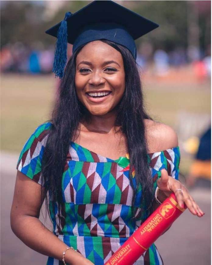 central university college graduate in kente dress