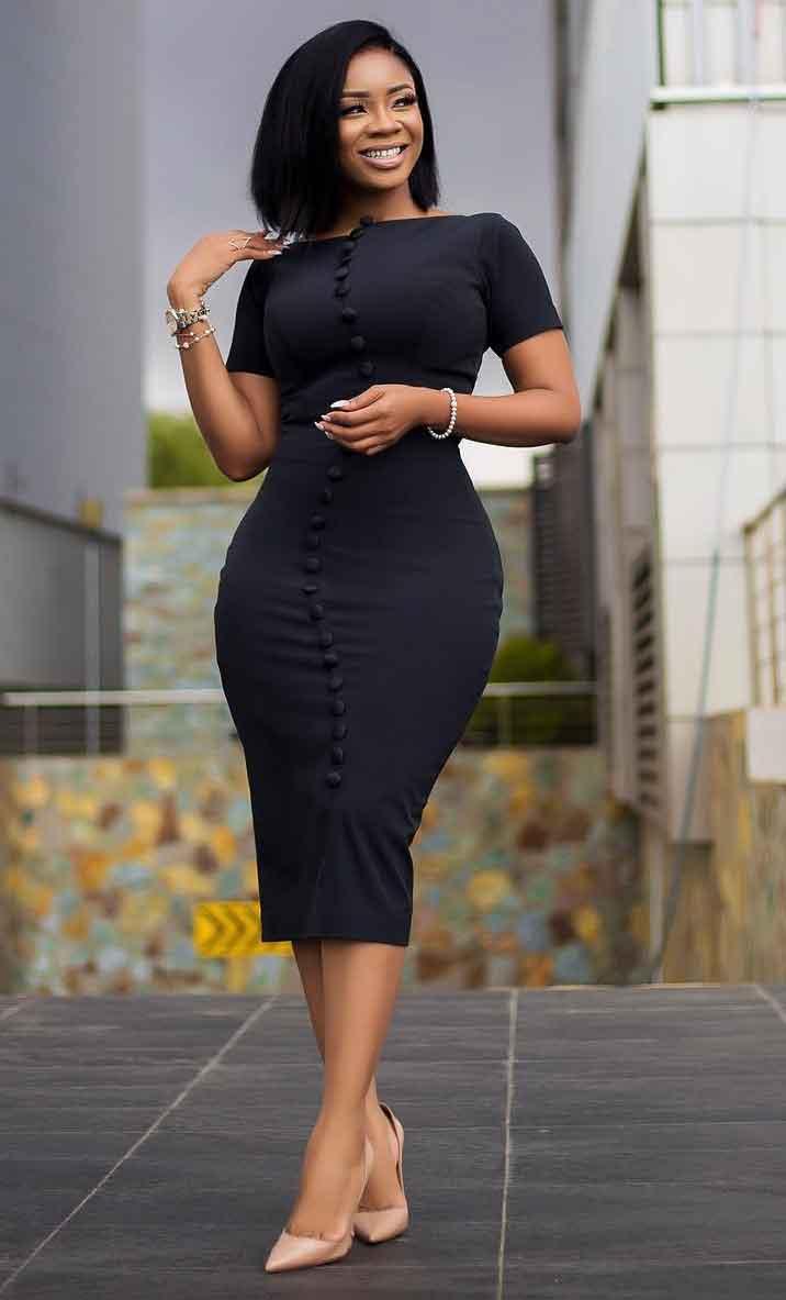 Serwaa Amihere black classic long dress