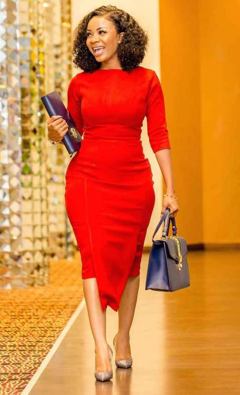 Serwaa Amihere in red dress
