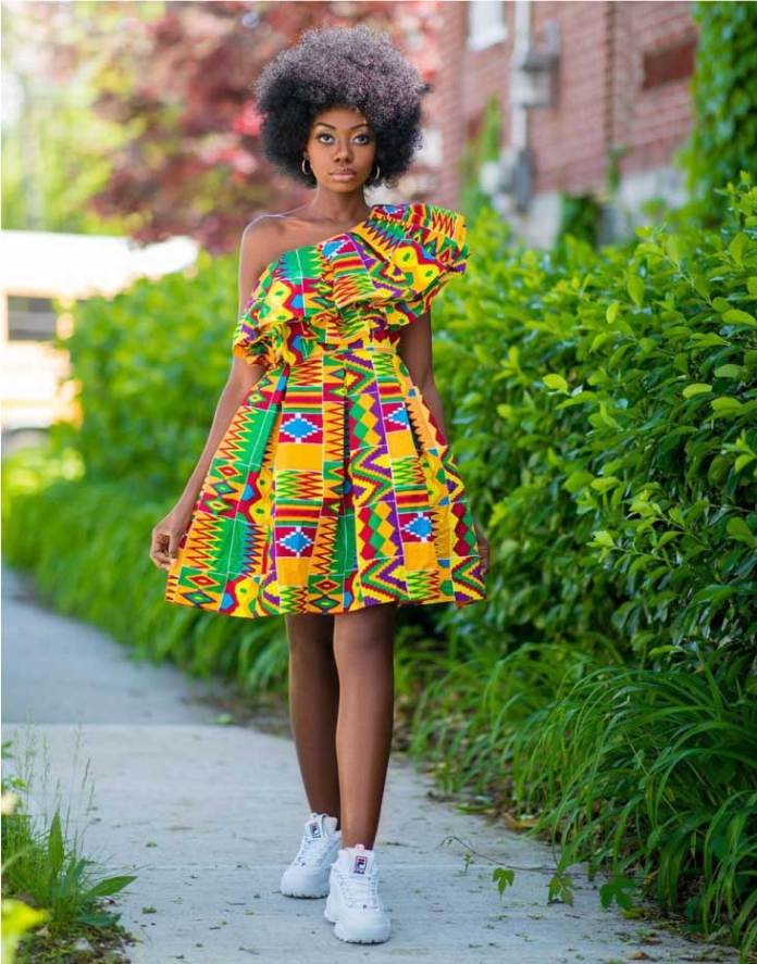 Kente with sneakers