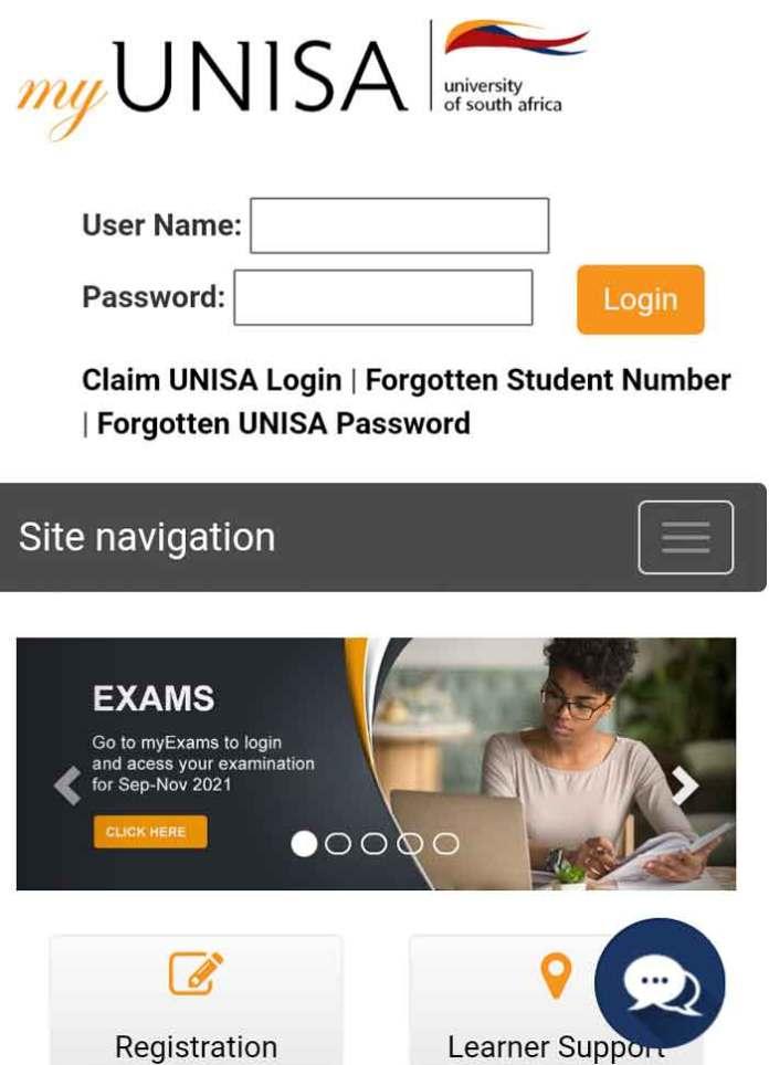myUnisa login page.