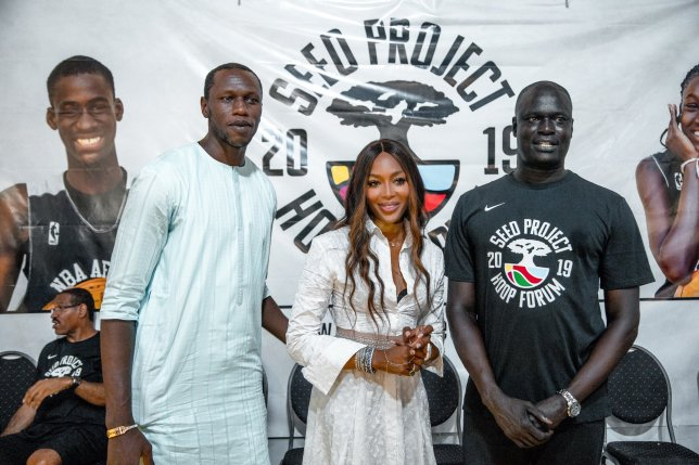 British model Naomi Campbell encourages African female basketballers