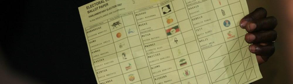 Kenya challenged vote Kenya election 2007 ECK Presiding Officer holding ballot with disputed marking