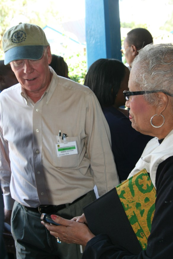 Kenya 2007 election- Ambassador Ranneberger and Connie Newman at polling station Nairobi