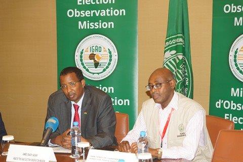 Djibouti IGAD Election Observation Mission press conference led by Kenya's Issack Hassan of IEBC