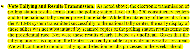 Carter Center Prelim Stmt of Vote Tally and Transmission of Results