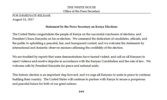 Kenya Election Trump White House congratulates Kenyatta on fair and transpaent re-election