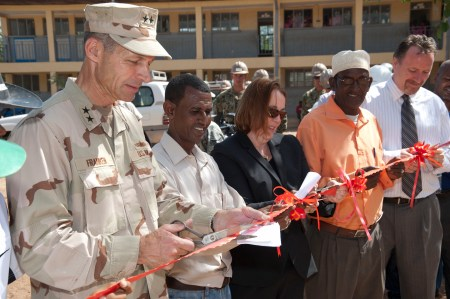 Amb Molly Phee cuts ribbon at school at Dire Dawa, Ethiopia with Commander of CJTFHOA