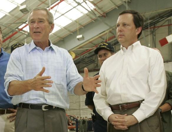 George W Bush praises FEMA head Michael Brown in Louisiana after Hurricane Katrina