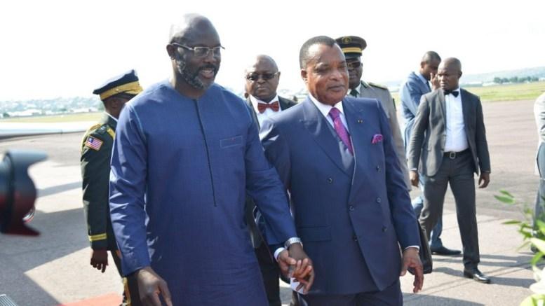 Georges Weah et Dennis Sassou Nguesso à Brazzaville
