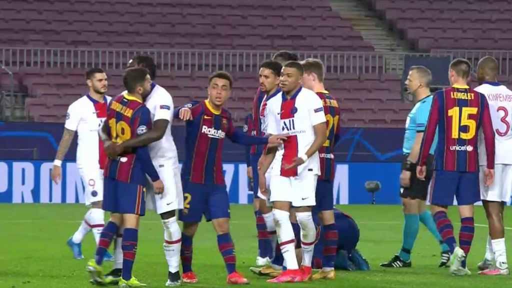 Kylian Mbappé Jordi Alba dispute