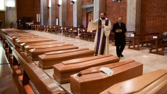 Italian church-turned-morgue 'finally empty' of coffins