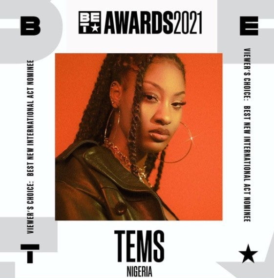 Tems nominated for 2021 BET Awards