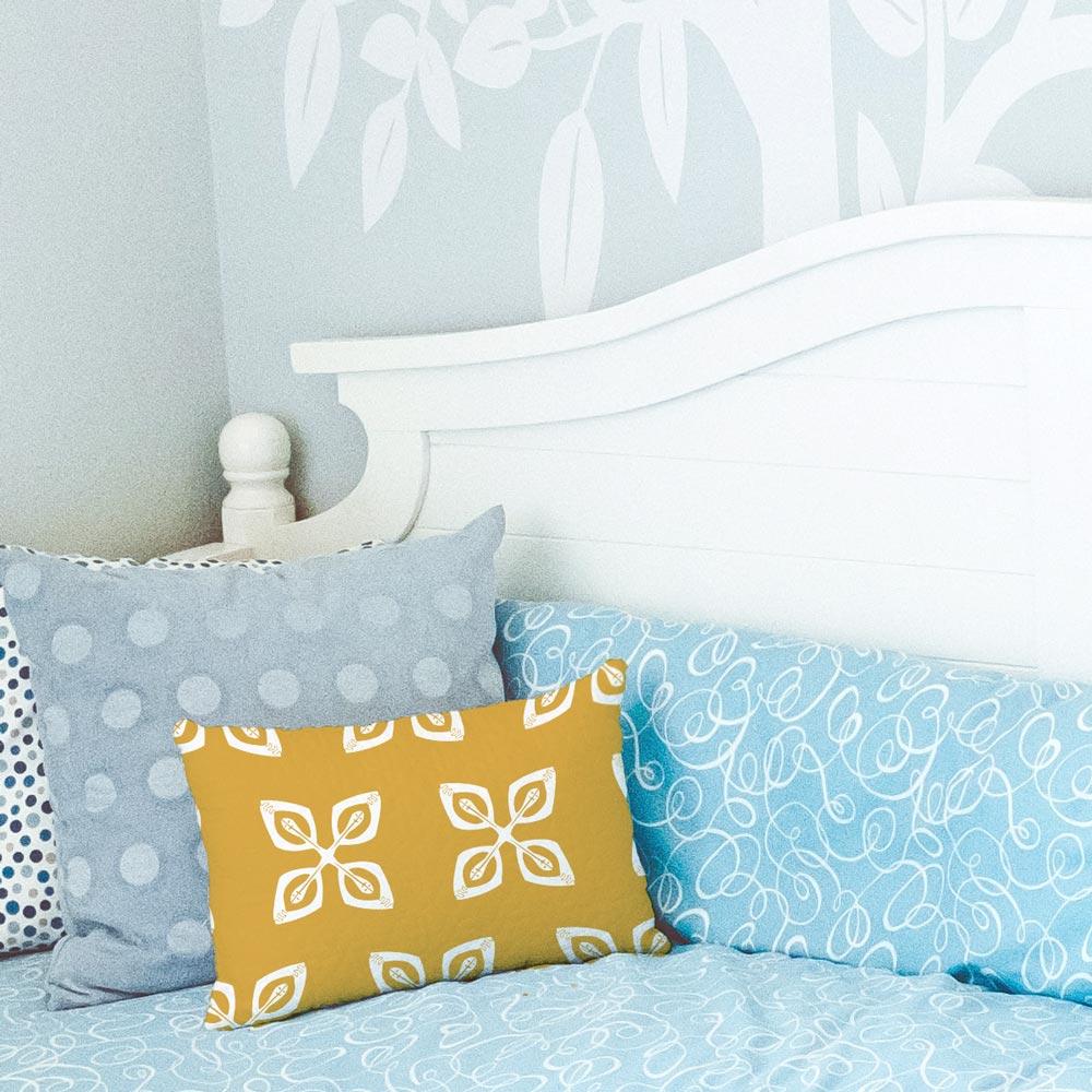 golden cowrie shells lumbar throw pillow