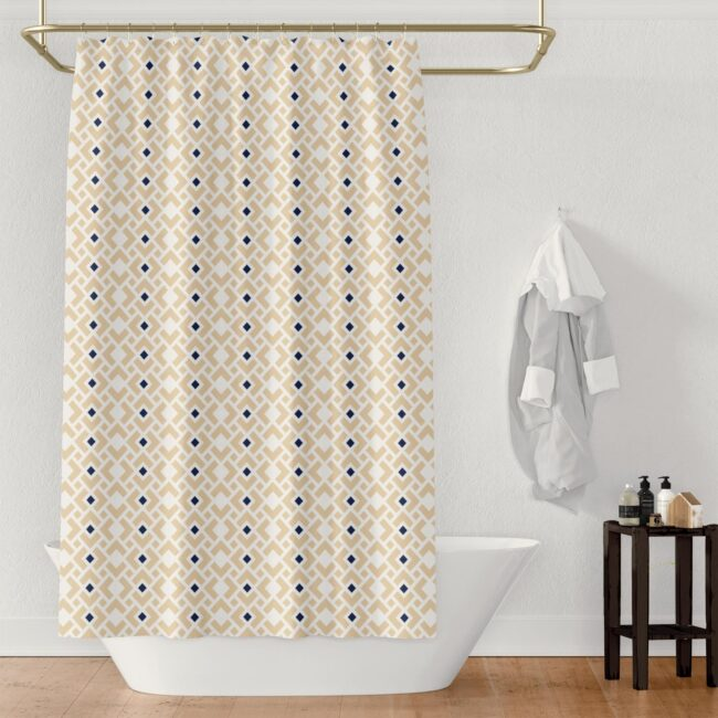 white diamond sapphire shower curtain in cream