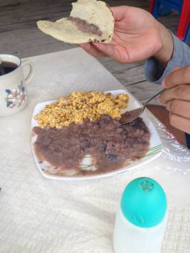 Homemade breakfast with real homemade tortillas at the place we stayed in Escanelilla