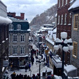 A view from the stairs (Escalier Casse-Cou) down to the charming shops in the old town