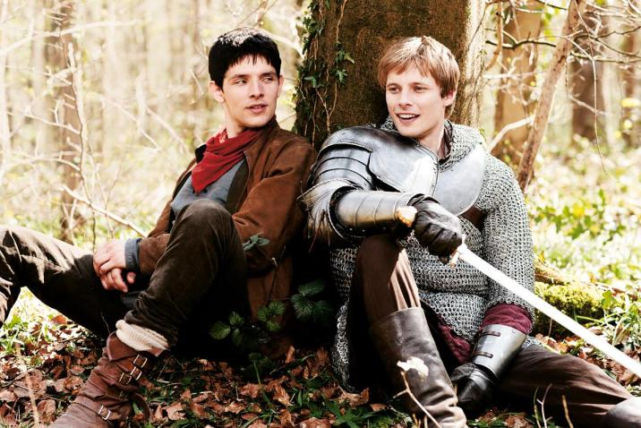 Colin Morgan and Bradley James in Merlin Series 5