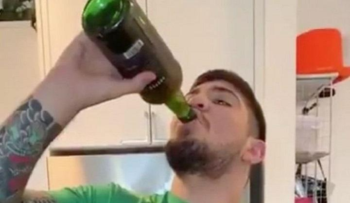 In 32 seconds: McGregor's partner pours in a full bottle of whiskey