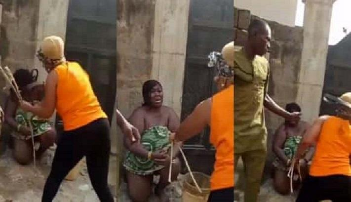 Wife flogs fat lady who slept with her husband
