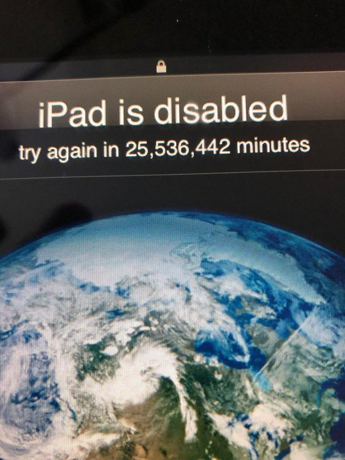 "The iPad is disabled: ""Try again after 48 years"""