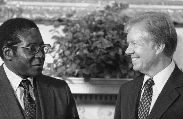 Mugabe and American President Jimmy Carter in 1980.