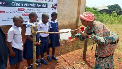 Governor's wife commissions tippy taps for primary school pupils