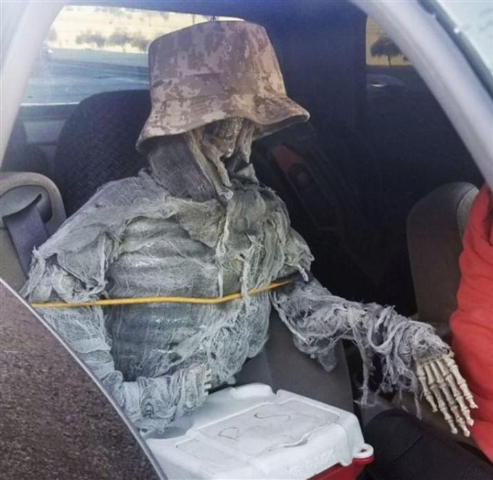 American took off carpool lane with fake skeleton in front seat