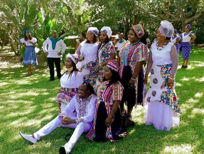 Gobela Faniyakhe Mthembu with his six brides after marriage ceremony