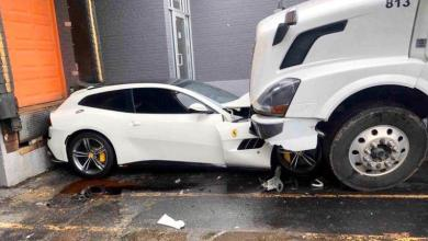 Angry ex-worker fires back by driving truck over his boss's Ferrari