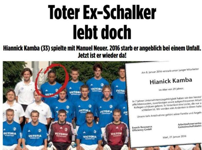 Hiannick Kamba is still alive, Bild reported.