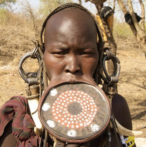 Mursi young gril with upper lip plate