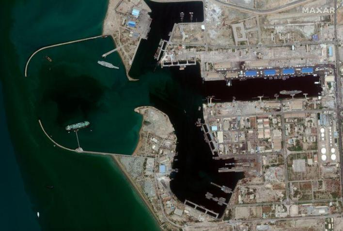 The colossus is located in the port of Bandar Abbas