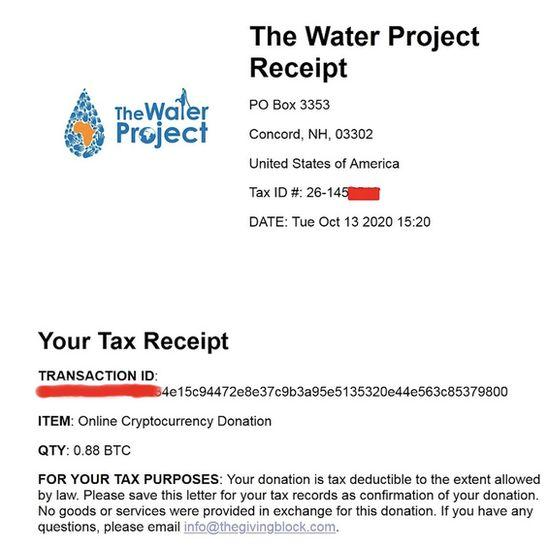 Another receipt was posted on the dark web indicating a donation